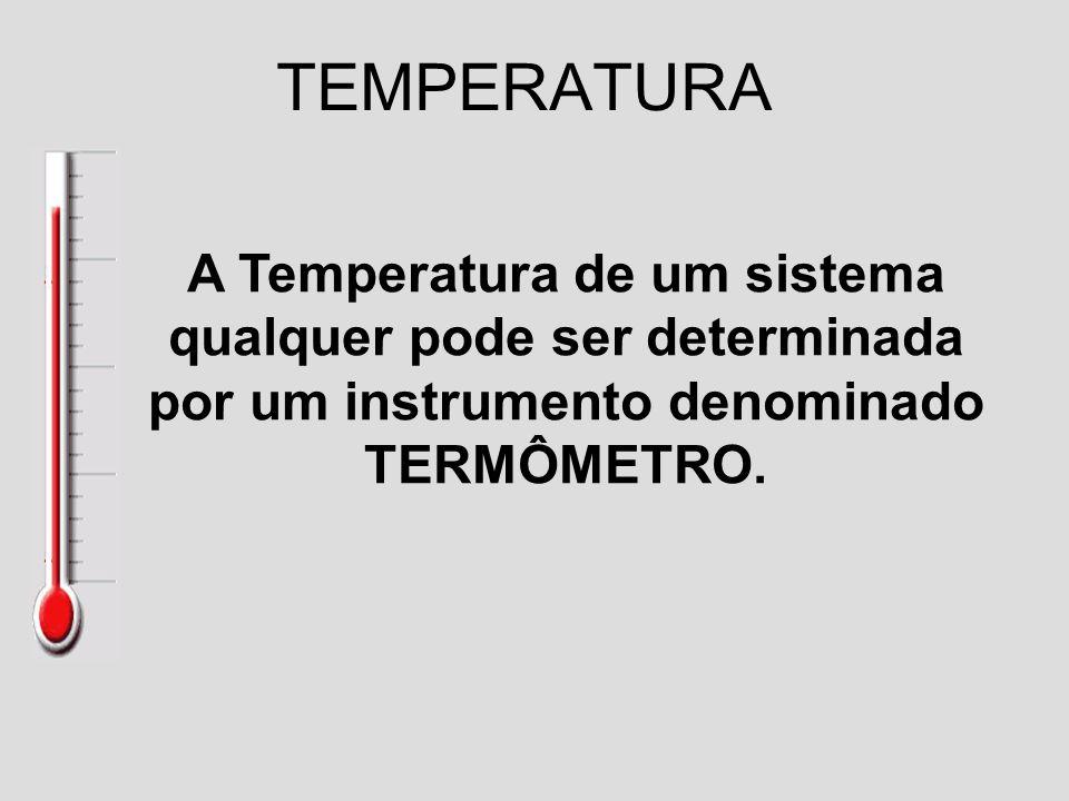 TEMPERATURA A Temperatura de um sistema qualquer pode ser determinada por um instrumento denominado TERMÔMETRO.