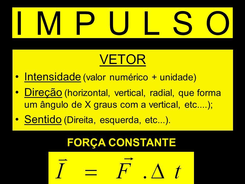 IMPULSO VETOR Intensidade (valor numérico + unidade)