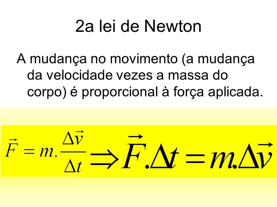 2a lei de Newton A mudança no movimento (a mudança da velocidade vezes a massa do corpo) é proporcional à força aplicada.