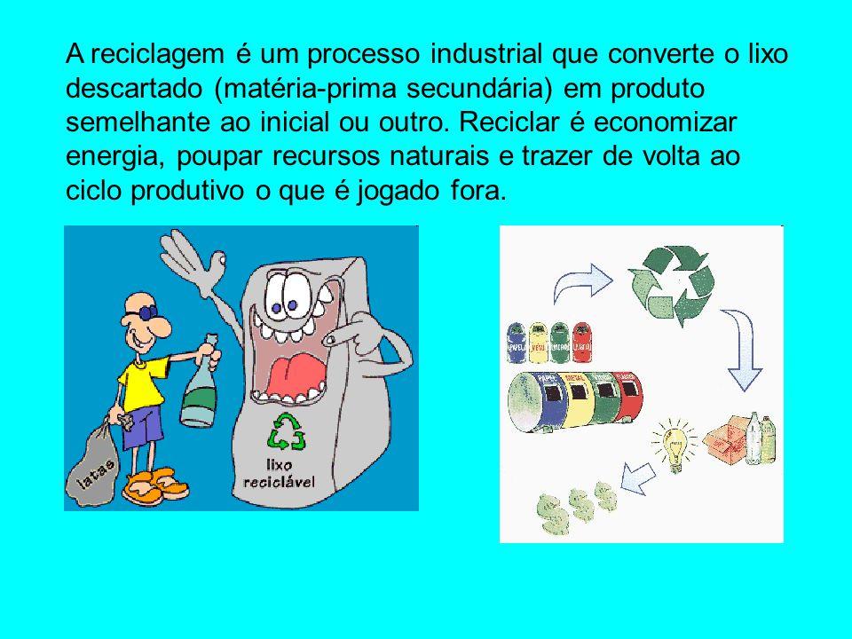 A reciclagem é um processo industrial que converte o lixo descartado (matéria-prima secundária) em produto semelhante ao inicial ou outro.