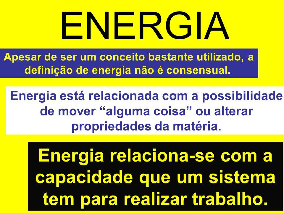 ENERGIA Apesar de ser um conceito bastante utilizado, a definição de energia não é consensual.