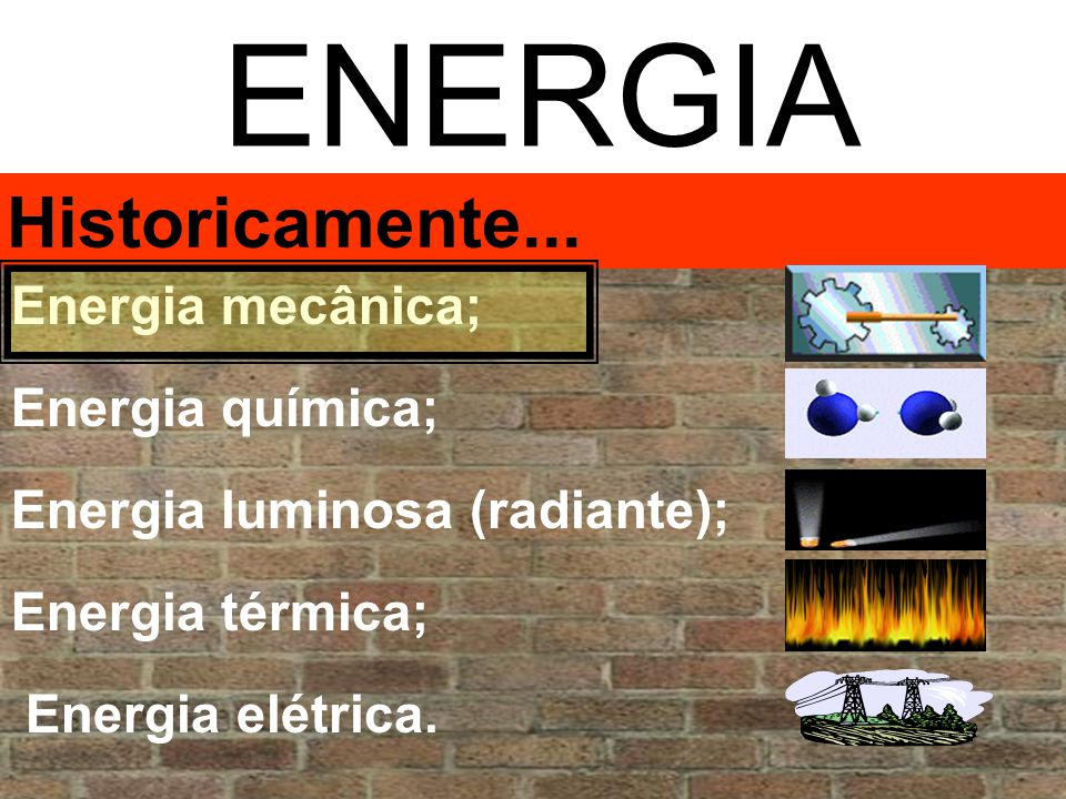 ENERGIA Historicamente... Energia mecânica; Energia química;