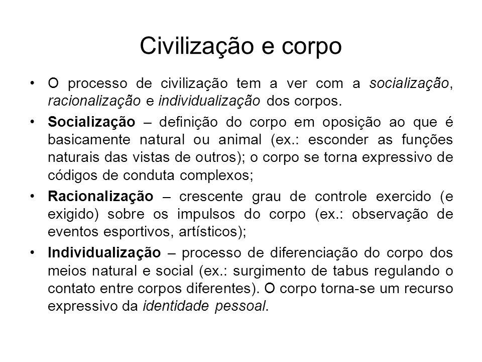 Civilização e corpo O processo de civilização tem a ver com a socialização, racionalização e individualização dos corpos.