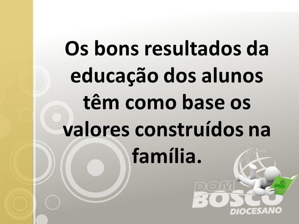 Os bons resultados da educação dos alunos têm como base os valores construídos na família.