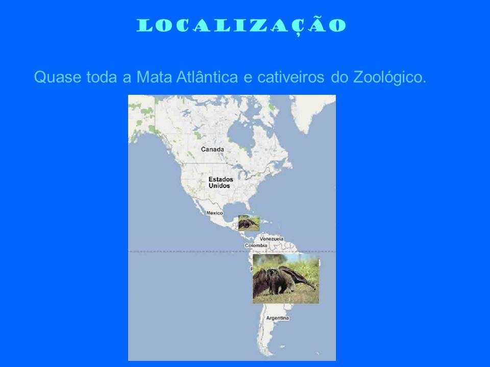 LOCALIZAÇÃO Quase toda a Mata Atlântica e cativeiros do Zoológico.