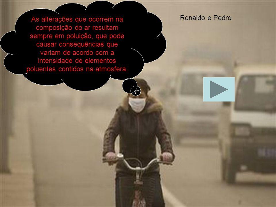 As alterações que ocorrem na composição do ar resultam sempre em poluição, que pode causar consequências que variam de acordo com a intensidade de elementos poluentes contidos na atmosfera.