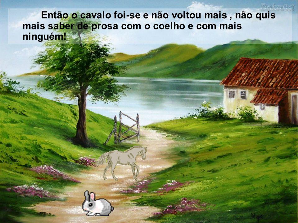 Então o cavalo foi-se e não voltou mais , não quis mais saber de prosa com o coelho e com mais ninguém!