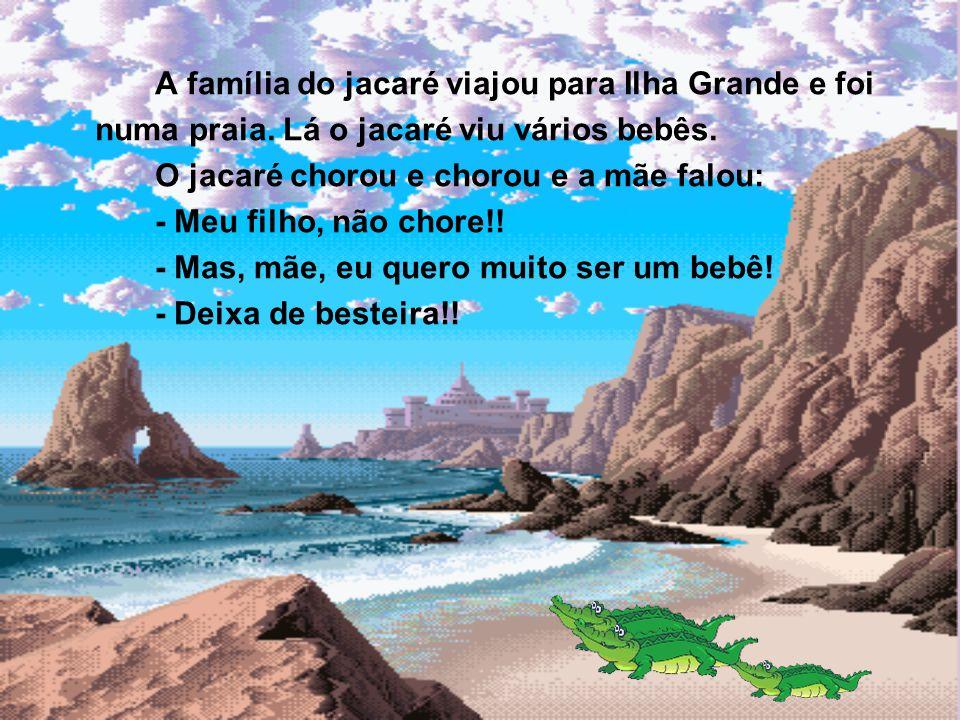 A família do jacaré viajou para Ilha Grande e foi numa praia