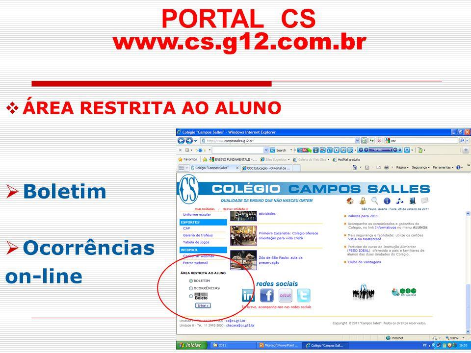 PORTAL CS www.cs.g12.com.br Boletim Ocorrências on-line