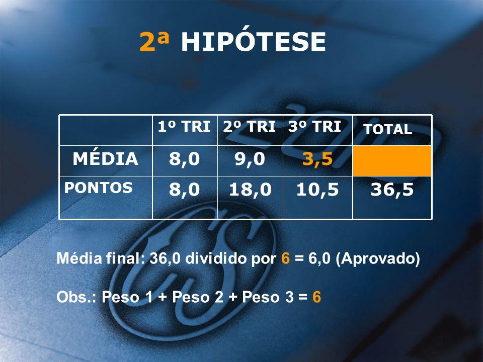 2ª HIPÓTESE 36,5. 10,5. 18,0. 8,0. PONTOS. 3,5. 9,0. MÉDIA. TOTAL. 3º TRI. 2º TRI. 1º TRI.