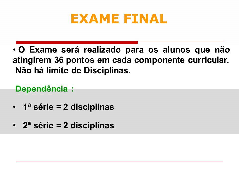 EXAME FINAL O Exame será realizado para os alunos que não atingirem 36 pontos em cada componente curricular.