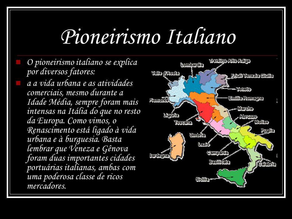 Pioneirismo Italiano O pioneirismo italiano se explica por diversos fatores: