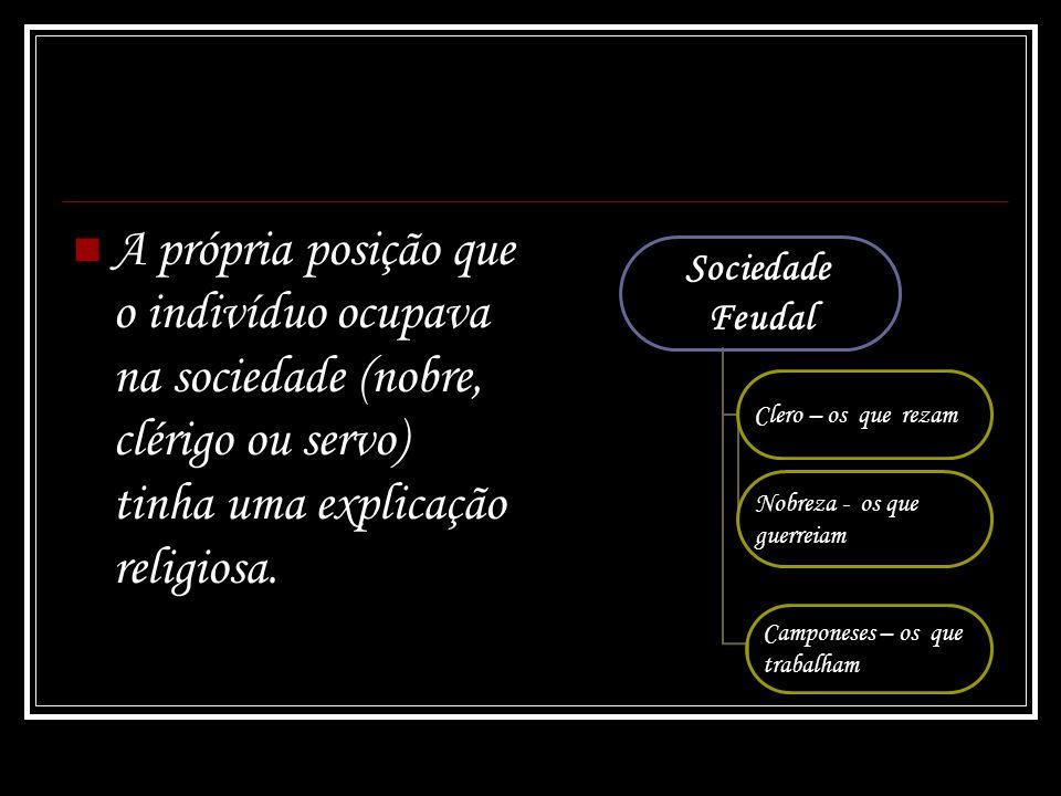 A própria posição que o indivíduo ocupava na sociedade (nobre, clérigo ou servo) tinha uma explicação religiosa.