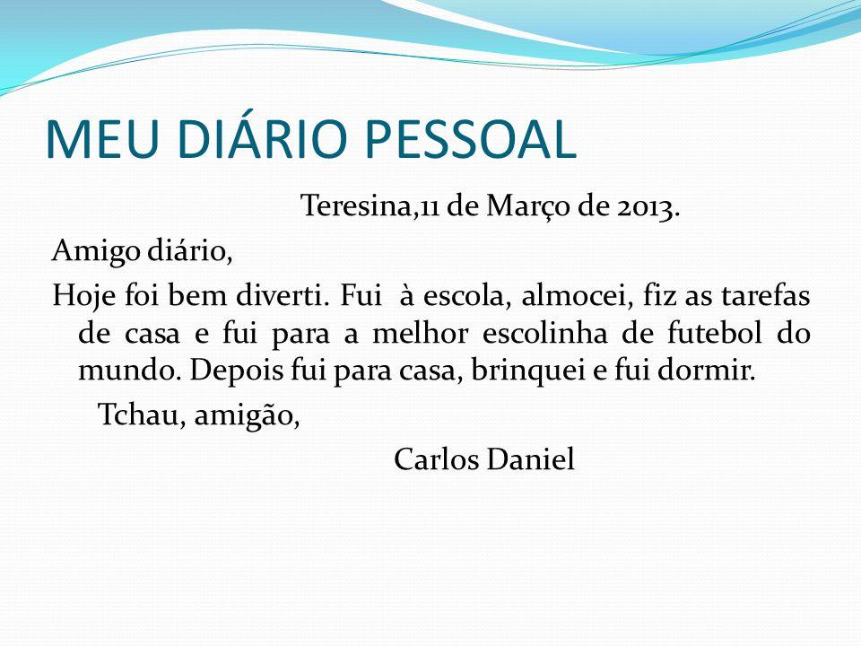 MEU DIÁRIO PESSOAL