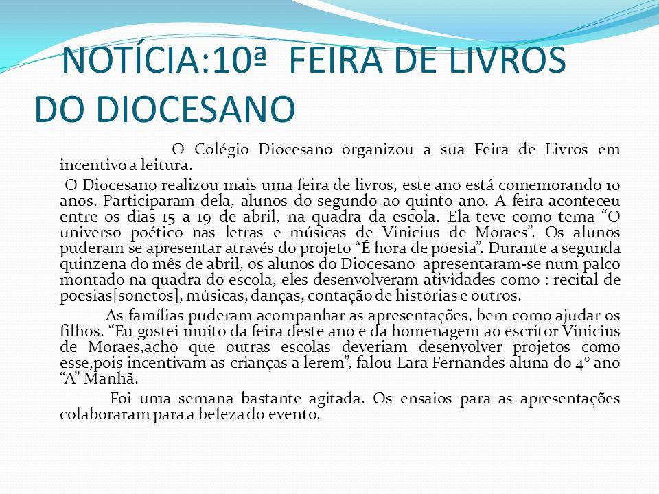 NOTÍCIA:10ª FEIRA DE LIVROS DO DIOCESANO