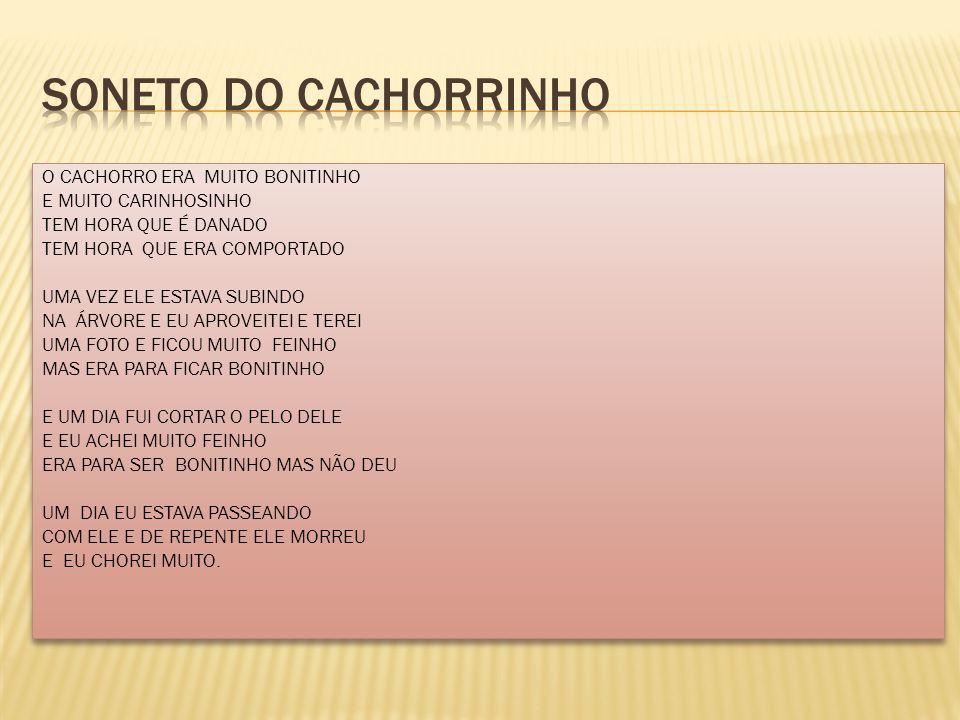 SONETO DO CACHORRINHO