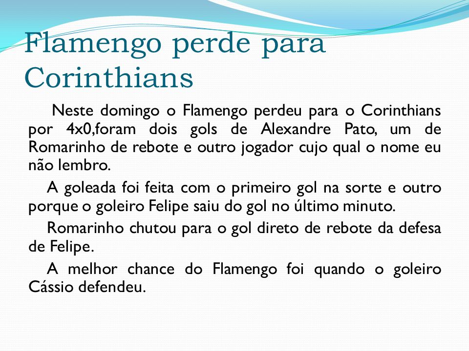 Flamengo perde para Corinthians