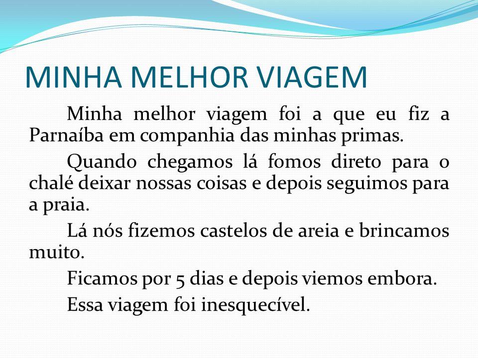 MINHA MELHOR VIAGEM