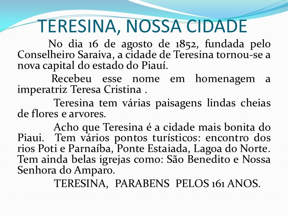 TERESINA, NOSSA CIDADE