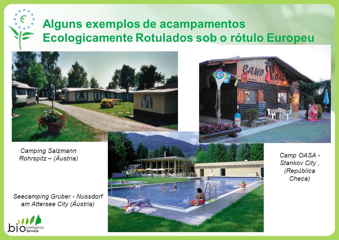 Alguns exemplos de acampamentos Ecologicamente Rotulados sob o rótulo Europeu