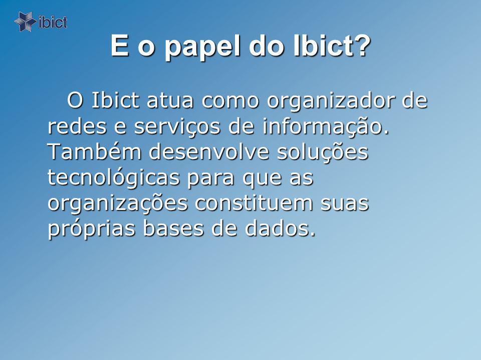 E o papel do Ibict