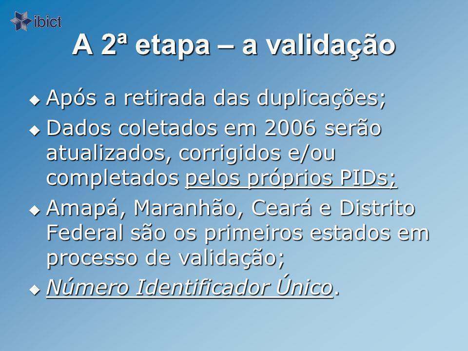 A 2ª etapa – a validação Após a retirada das duplicações;