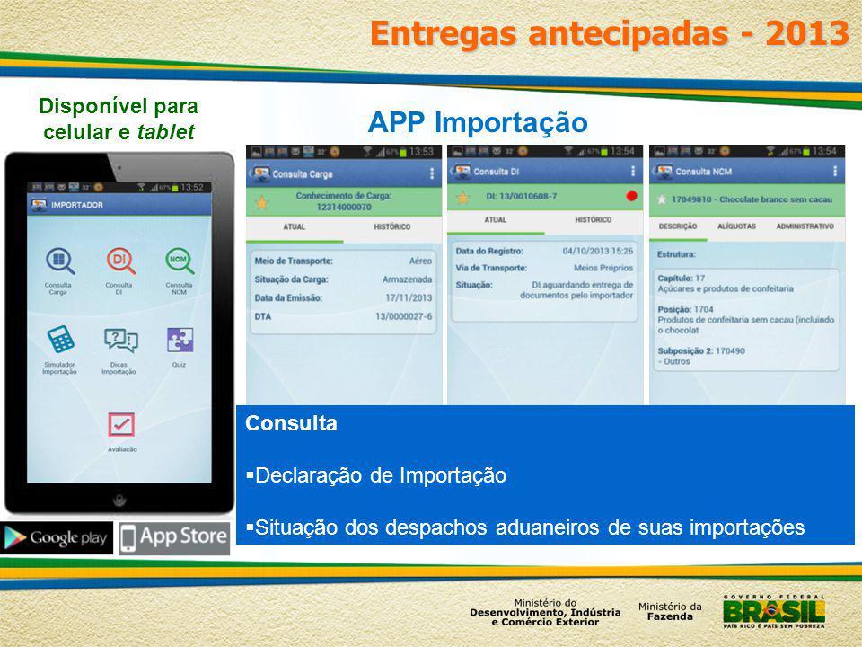 Entregas antecipadas - 2013 APP Importação