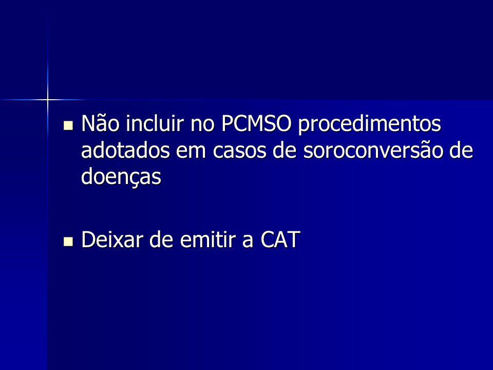 Não incluir no PCMSO procedimentos adotados em casos de soroconversão de doenças