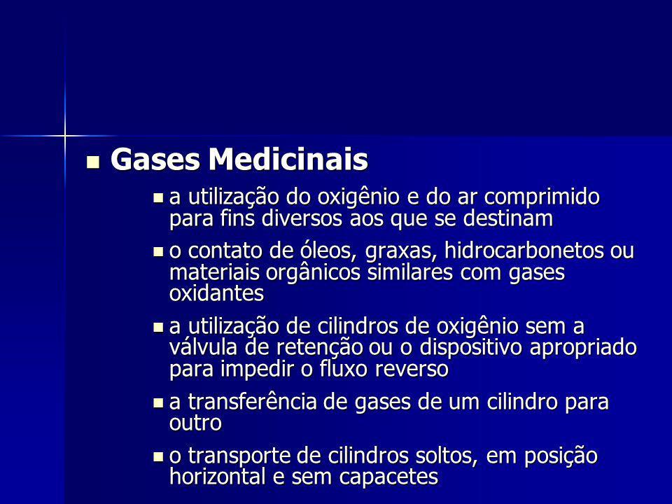 Gases Medicinais a utilização do oxigênio e do ar comprimido para fins diversos aos que se destinam.