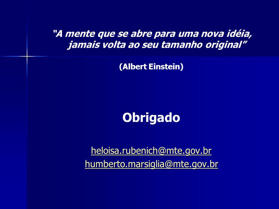 Obrigado heloisa.rubenich@mte.gov.br humberto.marsiglia@mte.gov.br