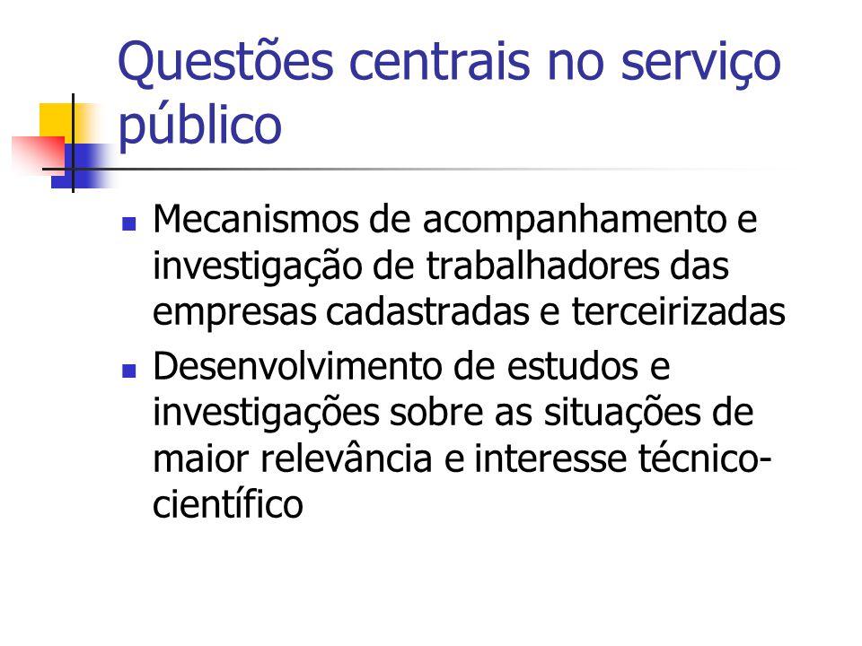 Questões centrais no serviço público