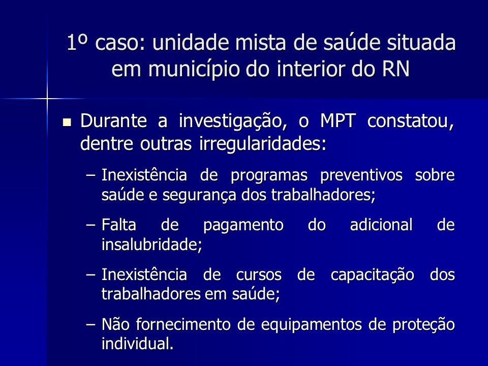 1º caso: unidade mista de saúde situada em município do interior do RN