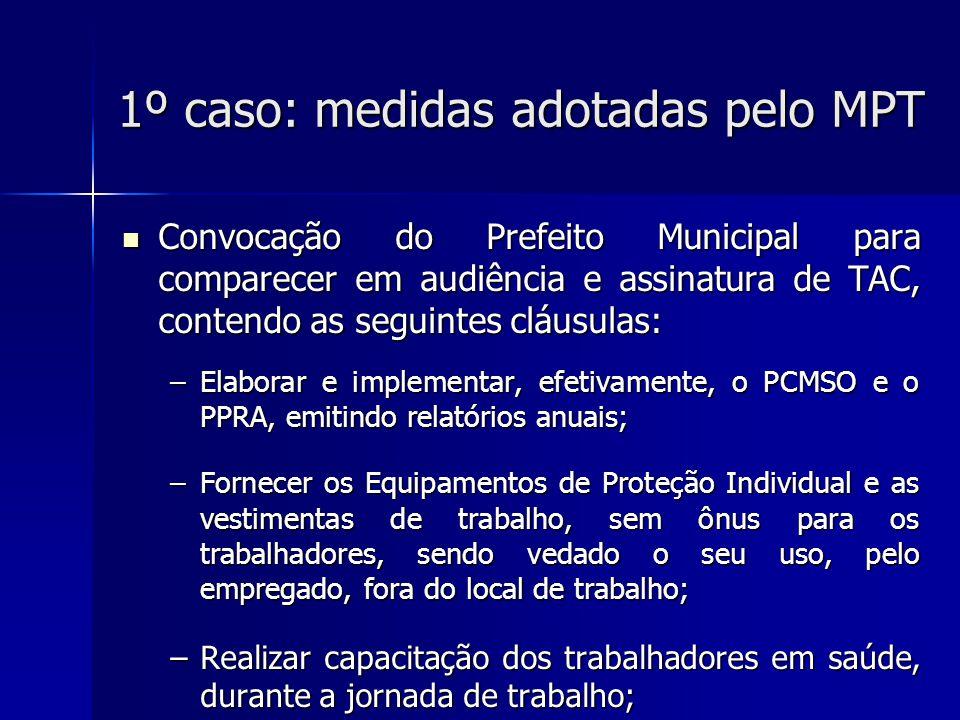 1º caso: medidas adotadas pelo MPT