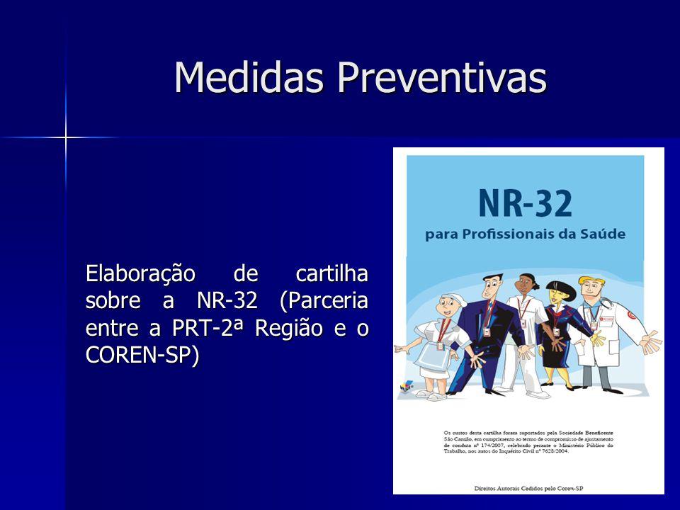Medidas Preventivas Elaboração de cartilha sobre a NR-32 (Parceria entre a PRT-2ª Região e o COREN-SP)