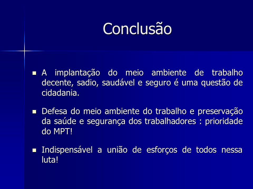 Conclusão A implantação do meio ambiente de trabalho decente, sadio, saudável e seguro é uma questão de cidadania.