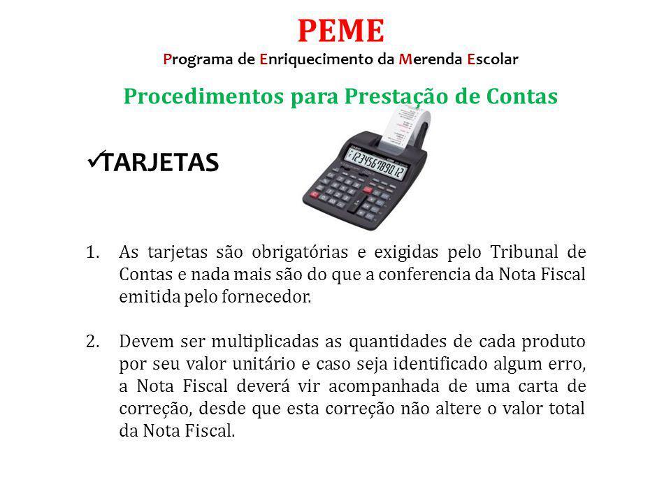 PEME TARJETAS Procedimentos para Prestação de Contas