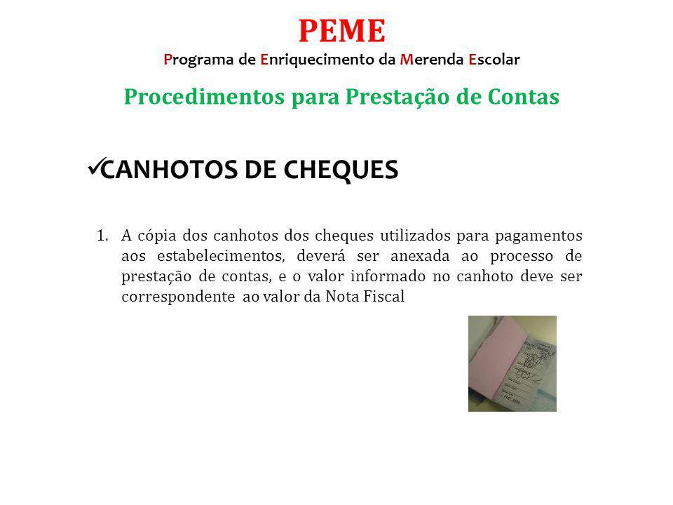 PEME CANHOTOS DE CHEQUES Procedimentos para Prestação de Contas
