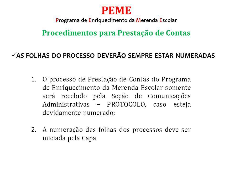 PEME Procedimentos para Prestação de Contas