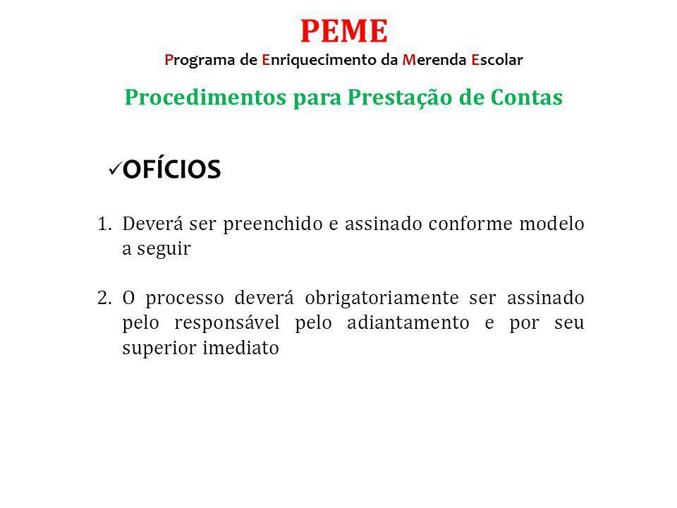 PEME Procedimentos para Prestação de Contas OFÍCIOS