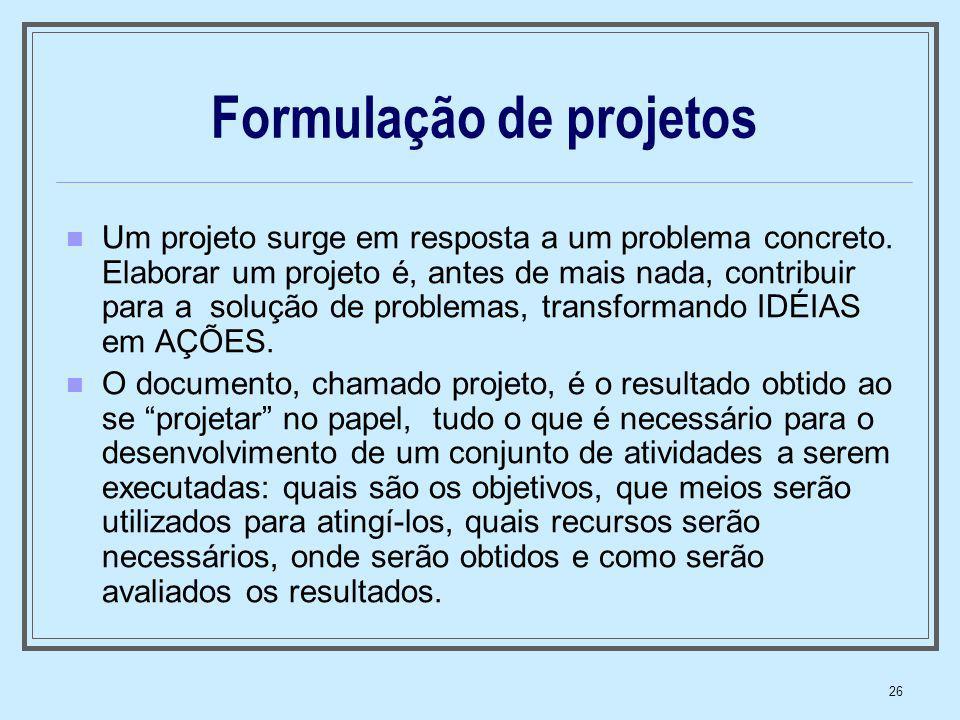 Formulação de projetos