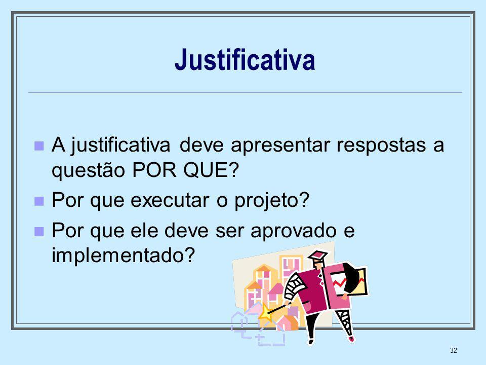 Justificativa A justificativa deve apresentar respostas a questão POR QUE Por que executar o projeto