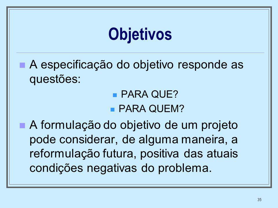 Objetivos A especificação do objetivo responde as questões:
