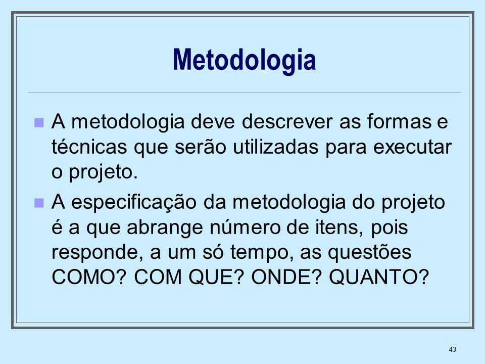 Metodologia A metodologia deve descrever as formas e técnicas que serão utilizadas para executar o projeto.