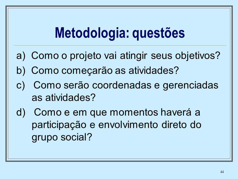Metodologia: questões