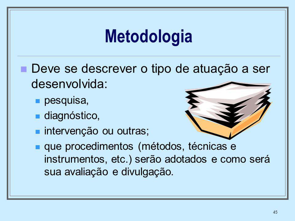 Metodologia Deve se descrever o tipo de atuação a ser desenvolvida: