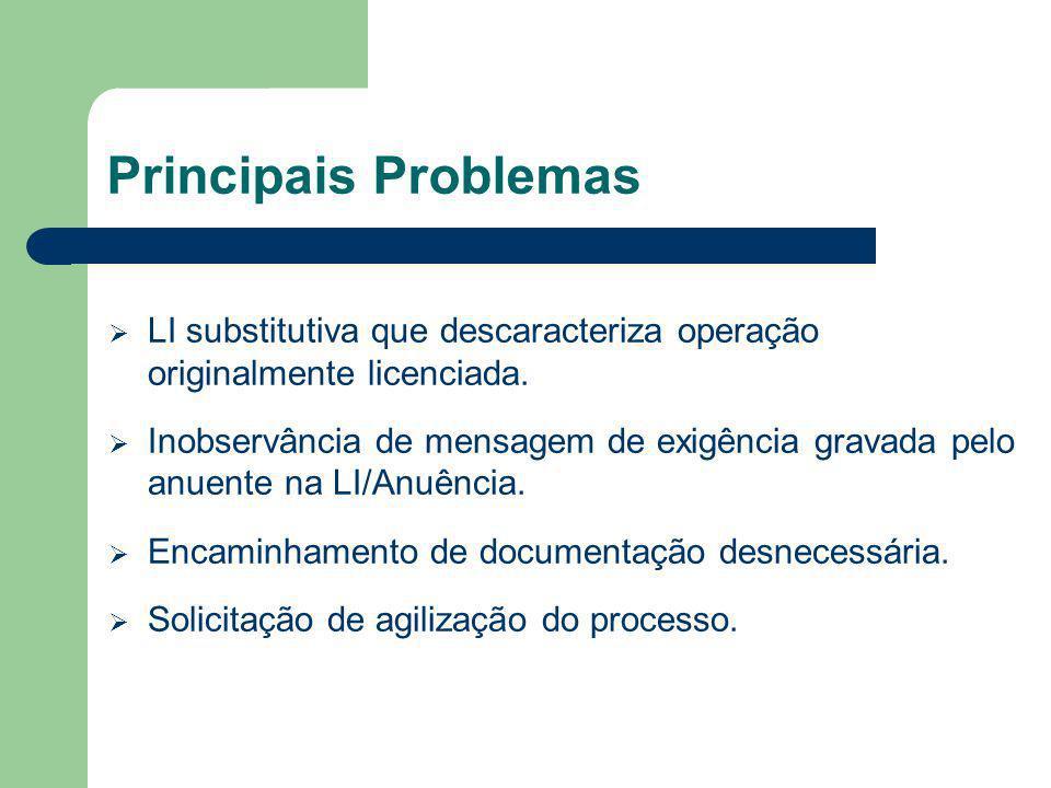 Principais Problemas LI substitutiva que descaracteriza operação originalmente licenciada.