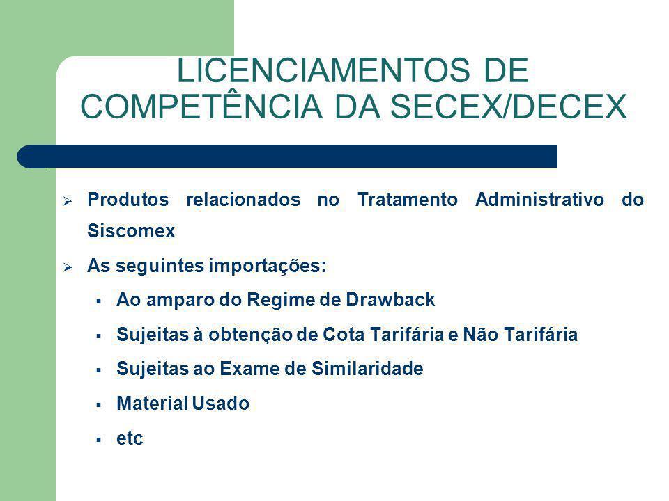 LICENCIAMENTOS DE COMPETÊNCIA DA SECEX/DECEX
