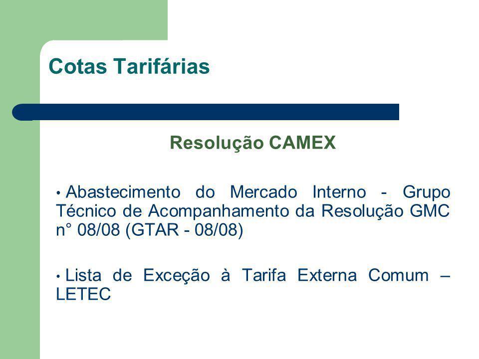 Cotas Tarifárias Resolução CAMEX