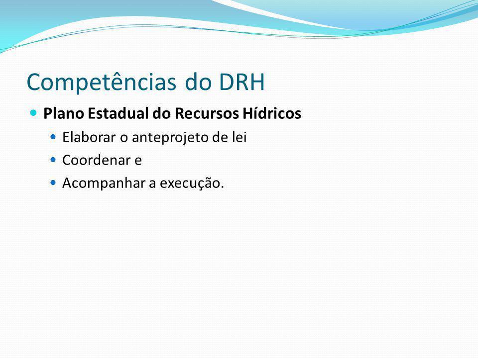 Competências do DRH Plano Estadual do Recursos Hídricos