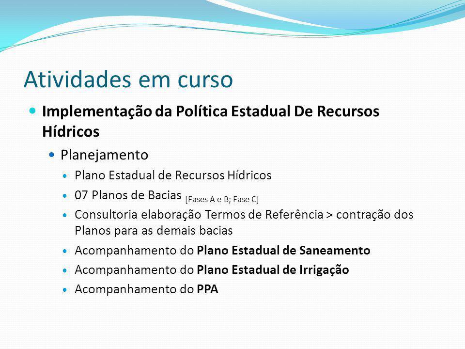 Atividades em curso Implementação da Política Estadual De Recursos Hídricos. Planejamento. Plano Estadual de Recursos Hídricos.